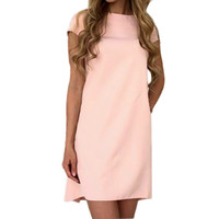 Sexy Women's O-neck Dress Short Sleeve Loose Mini Short Dresses Casual Elegant Solid Women Dress Vestidos Plus Size GV561