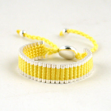 Adjustable Friendship Silver Links Bracelet - Yellow