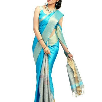 Blue Pure Silk Handloom Pattu Sari - ROSNT2056