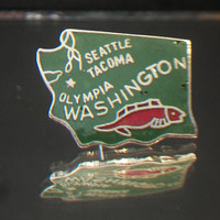 Washington State Fish Lapel Pin Green Enamel Tie Tack Geography Souvenir Accessories