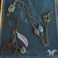 Turquoise Jasper & Antiqued Brass Necklace from A Single Dream