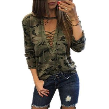 DCCKLW8 Sagace Camouflage Print Women Long Sleeve Slim T-Shirt Fashion V-Neck Lace-up Lady Sexy Tops Army Style Casual Female TShirt Tee