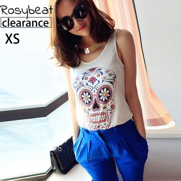 Fashion Skull Print Sleeveless Tank Tops Women Casual Basic Top Shirts Plus Size 2017 XS Summer Clothing Style Female Clothes