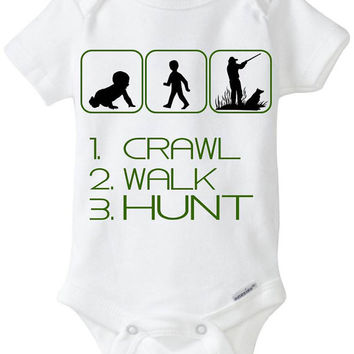 "Funny Sport Silhouette Baby Gift: Gerber Onesuit brand body suit ""1. Crawl 2. Walk 3. Hunt"" - Perfect new baby gift for a Hunter / new Dad"