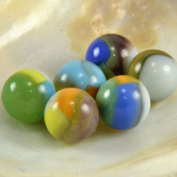 Vitro Tiger Eye Marbles Lot of 6 Vintage Toy Marbles  Multi colored Machine Made Glass