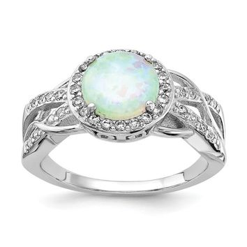 Cheryl M Sterling Silver Round White Opal Halo Ring