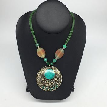 Turkmen Necklace Afghan Ethnic Tribal Turquoise Inlay Beaded Pendant Necklace VS163