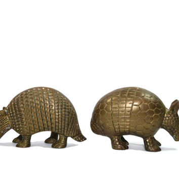 Vintage Pair of Brass Armadillos Brass Armadillo Gold Armadillo Statue Southwestern Decor Southwestern Nursery Decor