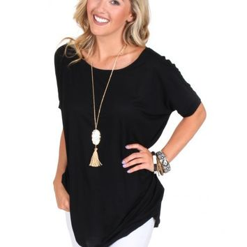 PIKO Something About You Black Short Sleeve Tunic | Monday Dress Boutique