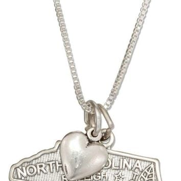 "Sterling Silver 18"" North Carolina State Pendant Necklace With Heart Charm"