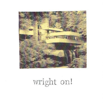 Wright On Architecture Congratulations Card | Graduation Funny Humor Architect Design Humor Pun Nerdy Hipster Home Moving Men Women