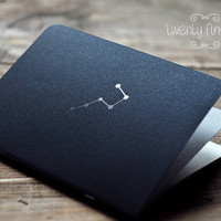"""Black Metallic notebook-sketchbook with a carved pattern - constellation """"Ursa Major"""" (small size)"""