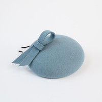 Wool Felt Mini Hat-Button-Felt Fascinator-Light blue
