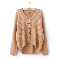 Woman's Round Neck Cardigan with Button Front