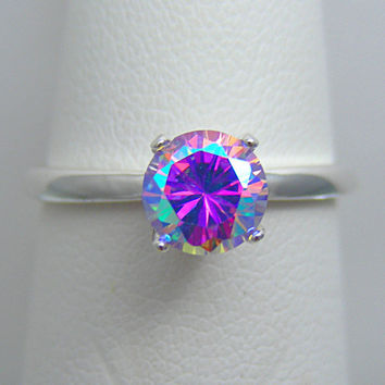 Mystic Fire Ring | Mystic Fire Jewelry | 1ct Cosmic Muse Mystic Fire Ice Sterling Silver High Set Solitaire Ring | Sz. 2-16