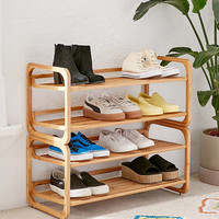 Stackable Bamboo Shoe Rack | Urban Outfitters