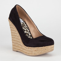 Delicious Glow Womens Shoes Black Faux Suede  In Sizes