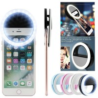 Selfie LED Light Ring Flash Fill Clip Camera For IPhone & Tablet