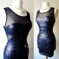 NEW Forever 21 Navy Blue Sparkly Sequined Mesh YokeWaist Cutout Sexy PARTY Dress