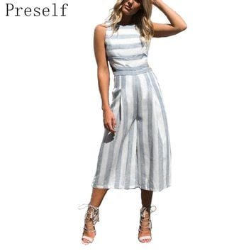 Preself 2017 Fashion Women Jumpsuit Rompers Backless O-Neck Calf-Length Striped Loose Cotton Linen Blend Hollow Out Jumpsuit