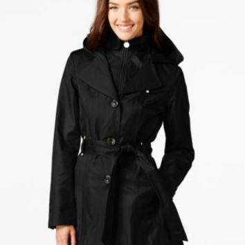 Calvin Klein Hooded Single-Breasted Water-Resistant Trench Coat | macys.com