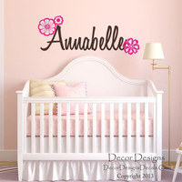 Flowers Custom Name Wall Decal - Fancy Name wall decal - baby girl personalized - name wall decal - script style wall name decal - flowers