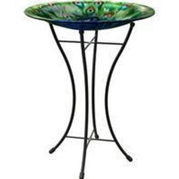 Panacea Products - Peacock Glass Bird Bath With Stand