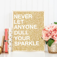Printable art Sparkle instant download wall art faux gold glitter