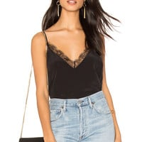 ANINE BING Deep V Silk Cami in Black