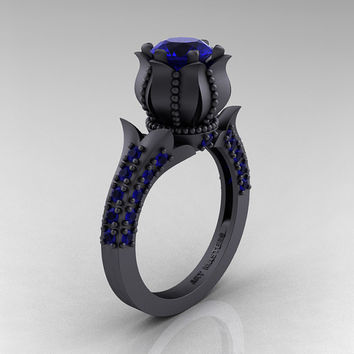Classic 14K Matte Black Gold 1.0 Ct Blue Sapphire Solitaire Wedding Ring R410-14KMBGBS