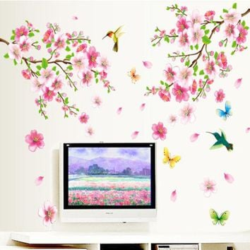 DCCKL72 Large ZY9158 Elegant Flower Wall Stickers Graceful Peach Blossom birds Wall Stickers Furnishings Romantic Living Room Decoration