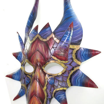 Rainbow Dragon Mask, Handmade from Leather and painted in Red, Yellow, Blue, Gold, and Purple