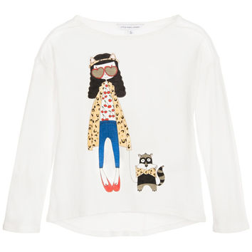 Little Marc Jacobs Girls White 'Miss Marc' Top