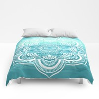 Mandala : Aqua Sunset Waters Comforters by WhimsyRomance&Fun