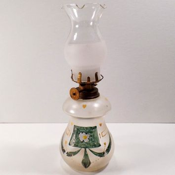 Vintage Miniature Kerosene Oil Lamp - Old Glass Lamp with Hurricane Shade