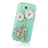 New Handmade 3D Eiffel Tower Diamond Rhinestone with Two Flower Case Hard Cover Cyan for Samsung Galaxy S3 III I9300