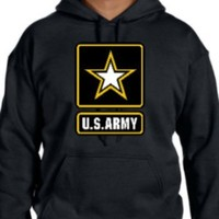 Custom U.S. Army Star logo on hooded pullover sweatshirt, mens large, black
