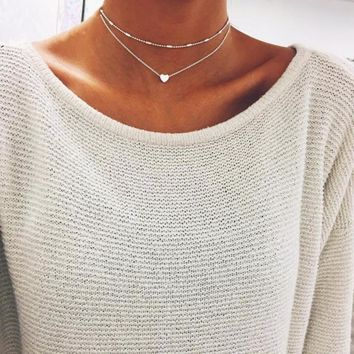 Simple Boho Gold Color Silver heart Bead Multi-layer Necklace