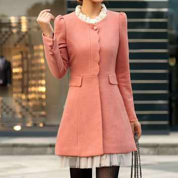 Women Pink OL Wool coat Cashmere winter coat Hood cloak Hoodie cape Hooded Cape/clothing /jacket/dress