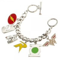 DC Comcs Super Heroes Quality Enamel Metal 6 Charm Bracelet New Licensed!