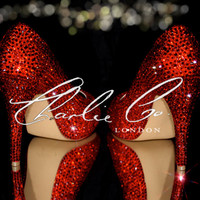 """Charlie Co. Ruby Red Crystal Peep Toe Heels 4.5""""  Diamond Crystal Light Siam Heels Evening Amazing Strass Shoes Bridal Wedding Prom Party"""
