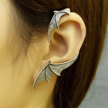 Vintage Punk Style Solid 925 Sterling Silver Earrings Bat Wing Single Earring Gothic Jewelry For Women Girl Gift Allergy Free