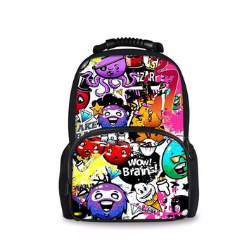 FORUDESIGNS Cute Cartoon Prints Large Schoolbag Stylish Oil Pattern Girls Daily Backpack Student Book Bags Soft Cotton Satchel