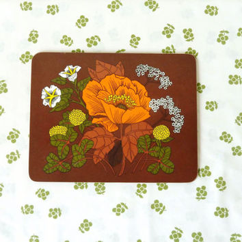 vintage 70s botanical place mats . set of 4 . retro table dressing . daisy . poppy .cow parsley . brown orange white . etsy uk