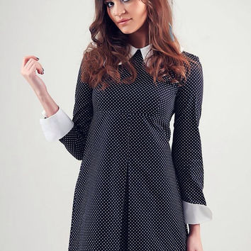 1960's Reproduction Mod Dress, Wednesday Addams Black and white polkadot, contrast Peter Pan collar and cuffs