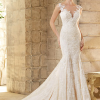 Mori Lee 2778 Lace Wedding Dress with Illusion Neckline