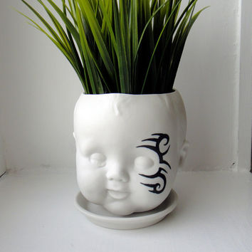 Mike Tyson Baby - Porcelain Baby doll head planter