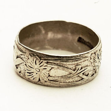Vintage Estate Sterling Silver Engraved Floral Wedding by Spoonier