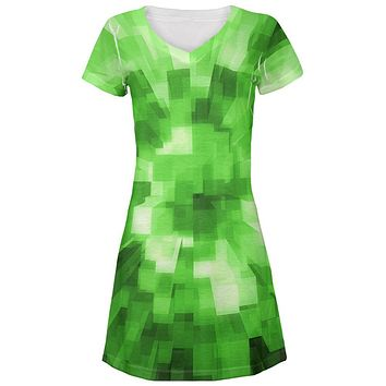 World Game Builder Forest Blocks All Over Juniors Beach Cover-Up Dress
