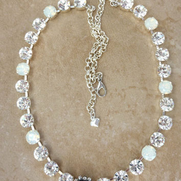 swarovski crystal and opal necklace, better than sabika, bridal, crystal heart